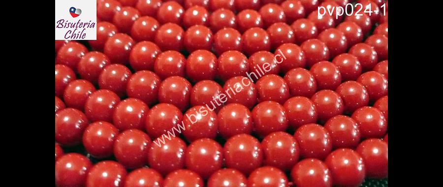 Perla de vidrio pintado 6 mm color rojo tira de 140 unidades
