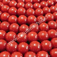 Perla de vidrio pintado 6 mm color rojo tira de 72 unidades