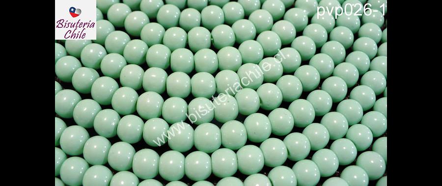 Perla de vidrio pintado 6 mm color jade tira de 140 unidades