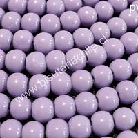 Perla de vidrio pintado 6 mm color lila tira de 140 unidades