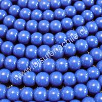 Perla de vidrio pintado 6 mm color azul tira de 140 unidades