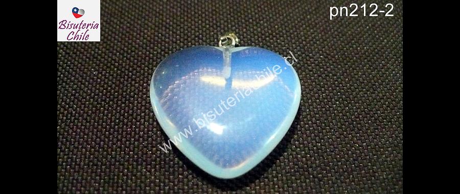 Dije corazón piedra luna, 25 mm de largo por 25 mm de ancho, por unidad
