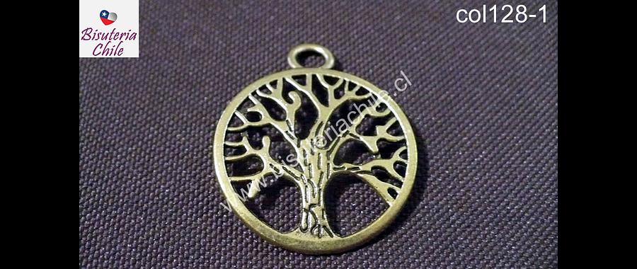 Colgante árbol de la vida dorado, 3 mm de diámetro, por unidad