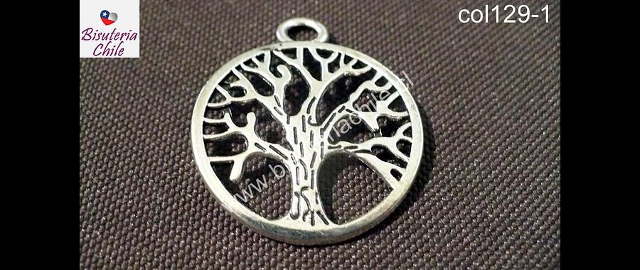 Colgante árbol de la vida plateado, 3 cm de diámetro, por unidad