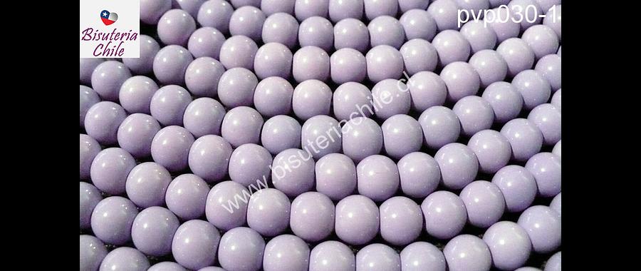 Perla de vidrio pintado 8 mm color lila tira de 54 unidades