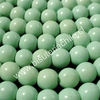 Perla de vidrio pintado 8 mm color jade tira de 54 unidades