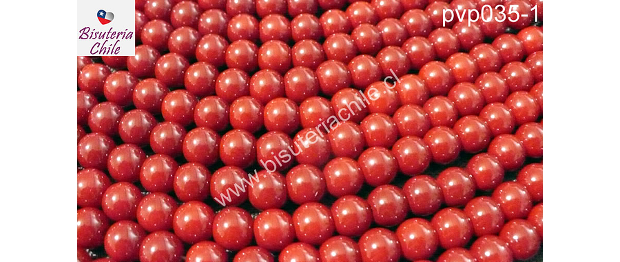 Perla de vidrio pintado 8 mm color rojo tira de 110 unidades