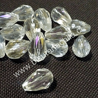 Cristal gota transparente, 12 mm de largo x 8 mm de ancho, set de 15 unidades