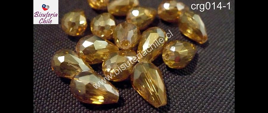 Cristal gota amarillo dorado,12 mm por 8 mm, set de 10 unidades