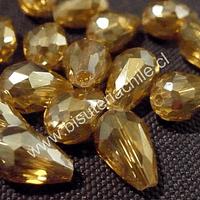 Cristal gota amarillo dorado,15mm por 12 mm, set de 10 unidades