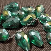 Cristal gota verde, 12 mm de largo x 8 mm de ancho, set de 15 unidades