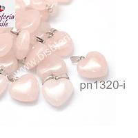 Dije de cuarzo rosado en forma de corazón, 16 x 16 mm, por unidad