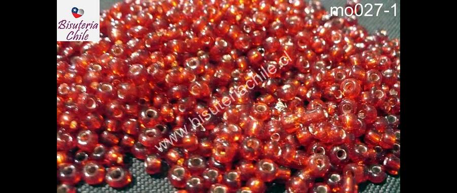 Mostacillón transparente, color rojo, bolsa de 50 grs (6/0)