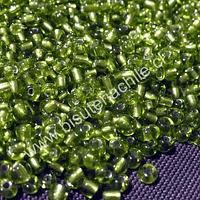 Mostacillón transparente, color verde claro, bolsa de 50 grs (6/0)