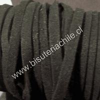 Gamuza gruesa negro, 5 mm de ancho, por metro