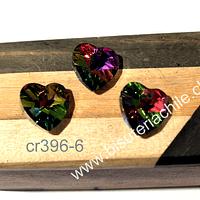 Cristal verde tornasol, 17 x 17 mm, set de 3