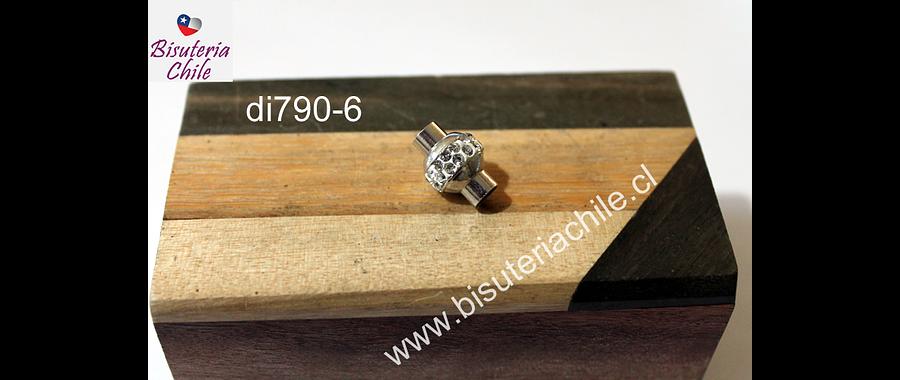 Cierre magnético con strass. 16 mm de largo x 10 mm de ancho, agujero de 5 mm, por unidad