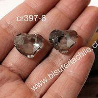 Cristal en forma de corazón facetado color gris,  16 mm de ancho x 15 mm de largo, set de dos unidades