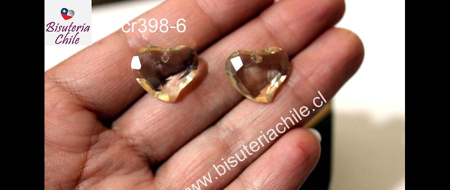 Cristal en forma de corazón facetado color champagne, 16 mm de ancho x 15 mm de largo, set de dos unidades. San Valentin