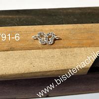 Dije en forma de mariposa, doble conexión con strass, 28 mm de largo x 8 mm de ancho, por unidad