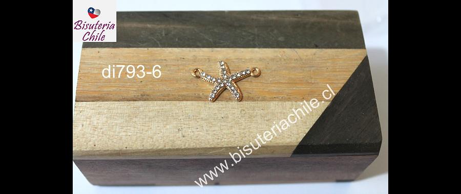 Dije doble conexión en forma de estrella de mar con strass dorado, 22 mm de ancho x 15 mm de alto, por unidad