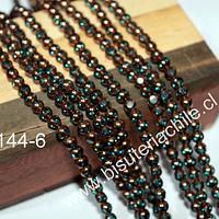 vidrio color celeste con cobre, 4 mm, tira de 80 perlas aprox.