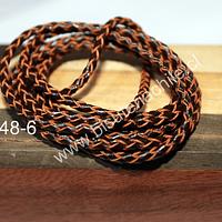 Cuero trenzado de 3 mm, en color café oscuro, por metro