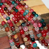 Agatas, Agata multicolor de 6 mm, tira de 65 piedras aprox