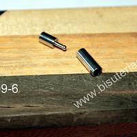 Cierre magnético para cuero, 17 mm de largo, agujero de 3 mm. por unidad