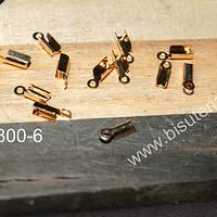 Terminal de acero dorado, 7 mm de largo x 2 mm de ancho, set de 12 unidades.