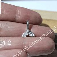 Dije de plata  925 cola de sirena con circones, 14 mm de largo x 11 mm de ancho, por unidad