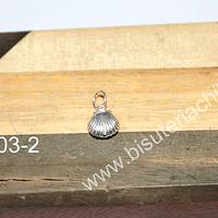 Dije de plata 925 en forma de conchita, 8 x 8 mm, por unidad