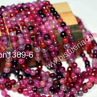 Agata multicolor en tonos fucsias de 6 mm, tira de 60 piedras aprox