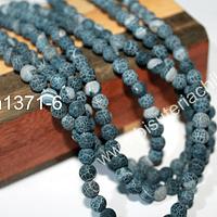 Agatas, Agata frosting 6 mm, en tonos negros y grises, tira de 65 piedras aprox