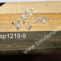 Separador baño de plata, biselada, 2 mm de largo, agujero de 2 mm, set de 1 grs (48 unidaades aprox)