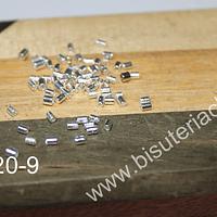 Separador baño de plata,2 mm de largo, agujero de 1.6 mm, set de 1 grs (48 unidaades aprox)