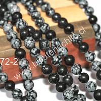 Obsidiana nevada de 8 mm, tira de 48 piedras aprox