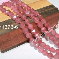 Opalo rosa facetado corte hexagonal, 6 mm, tira de 25 unidades