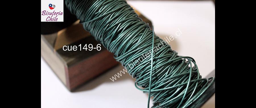 Cuero verde metalizado, de 1 mm, por metro