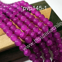 Perla de vidrio en color fucsia craquelado, de 8 mm, tira de 100 unidades aprox.
