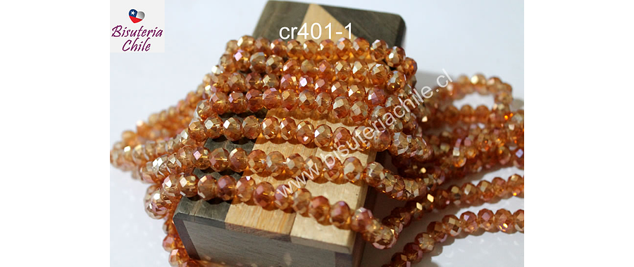 Cristal de 8 mm, color naranja tornasol brillante, tira de 70 cristales aprox.