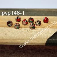 Perla española roja de 6 mm, set de 8 unidades