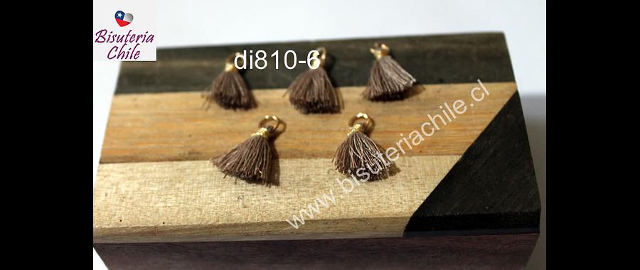 Borla mini beige con argolla dorada, 13 mm de largo, set de 5 unidades