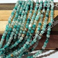 Agata de 4 mm, en tonos jades y celestes, tira de 95 piedras aprox