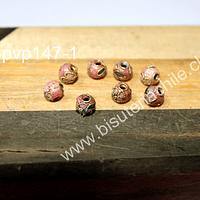 Perla española rosada de 6 mm, set de 8 unidades