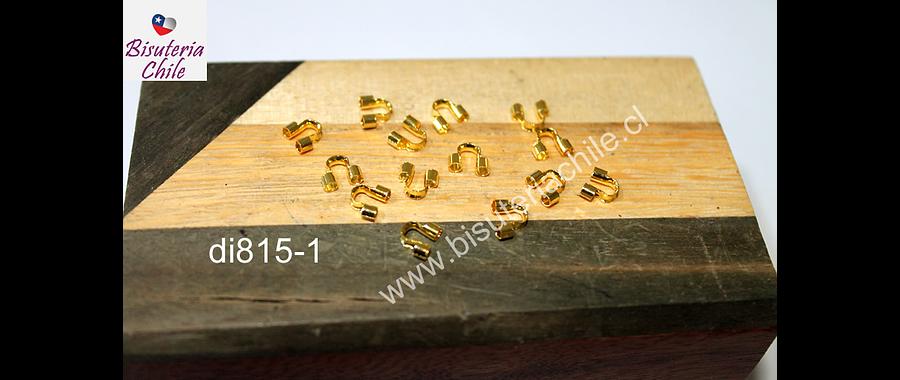 Terminal guía del alambre o hilo, color dorado, 5 mm de largo, set de 14 unidades aprox.