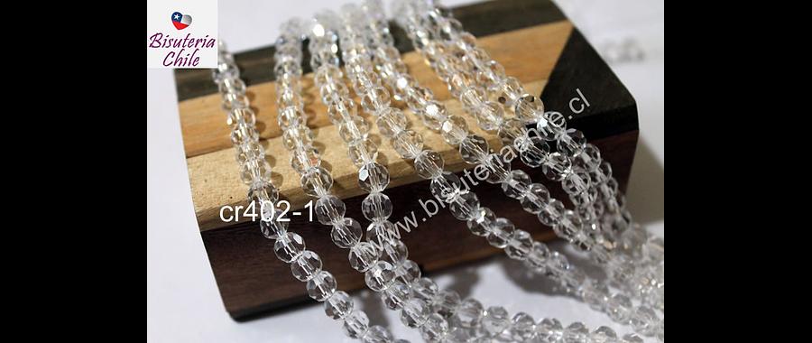 Cristal redondo de 6 mm, color blanco transparente, tira de 50 cristales aprox