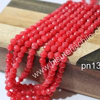 Agata de 4mm en tono rojo sandía, tira de 87  piedras aprox