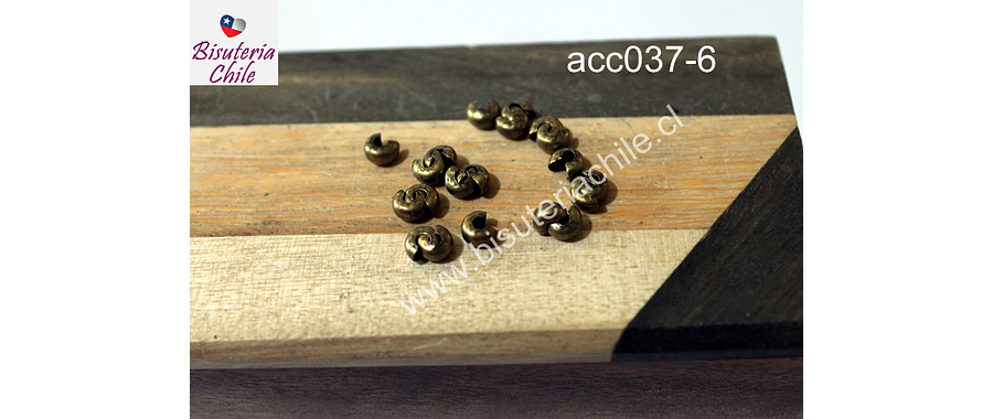 Tapa nudo, Tapanudo caracol envejecido, 4 mm set de 2 grs (20 unidades aprox)