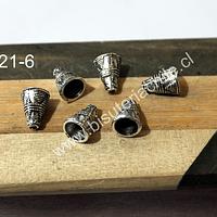 casquete plateado, 11 mm de largo x 8 mm de ancho set de 6 unidades